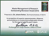 Waste Management & Research Outstanding Reviewer Award 2012